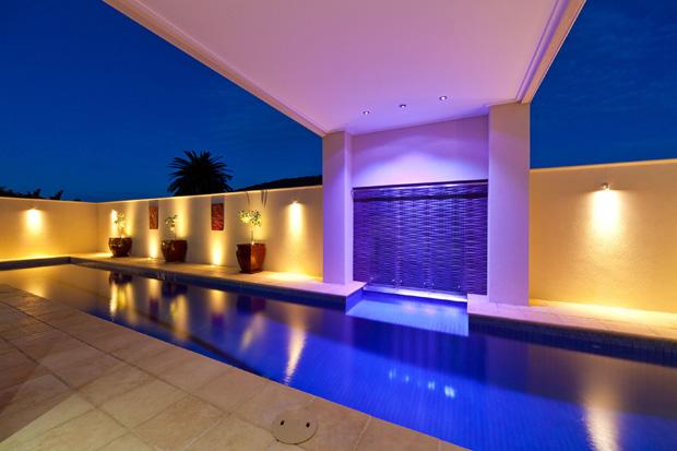 BAER Bullet Lights downlighting Water Feature, Elite Titanium Single Wall Light alongside Pool-side